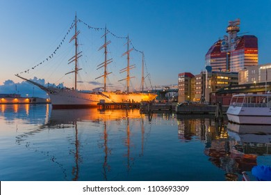 Tradional sailing vessel at sunset in the harbour of Gothenburg, Sweden,Europe
