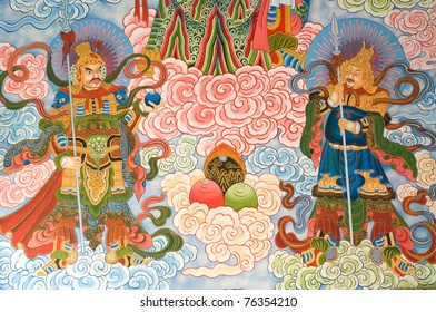tradition Chinese painting on Chinese temple wall at Nakhonprathom province Thailand