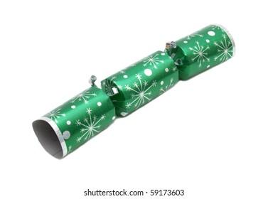 Tradition green metallic Christmas cracker