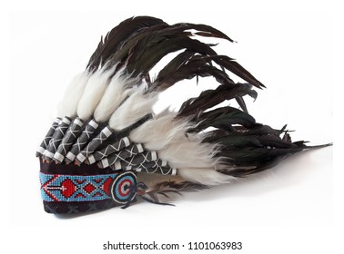 tradition Indian hat with pens isolated on white background
