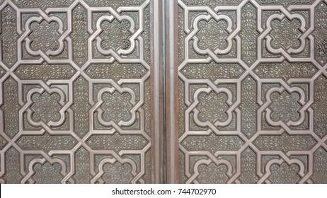 Tradition moroccan ornament in a door of the Hassan II Mosque - Casablanca, Morocco