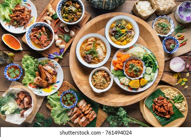Tradition Northern Thai food. on a wooden table, top view