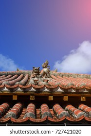 Tradition Okinawa roof,(Shisha Statue on the Roof a Shisha guardian lion protects this home)