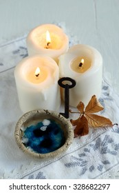 tradition polish wax (candle) divination on evening predictions on the eve of St. Andrew / divination of wax