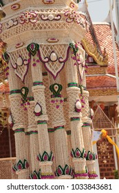 The tradition of steering wheel popped rice  : Garlands made of popped Marchers( Garlands made of popped rice) to worship the faith of the Prophet by Buddhists in Thailand, Yasothon.