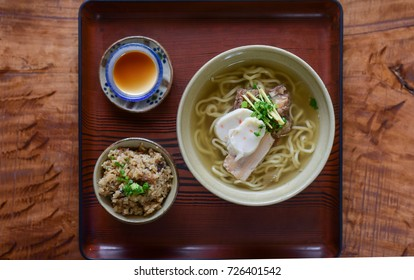 Tradition Udon with Fried rice and pudding on table