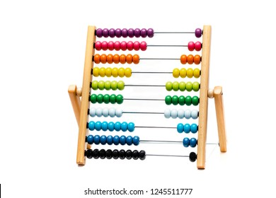Traditional abacus with colorful wooden beads on white background