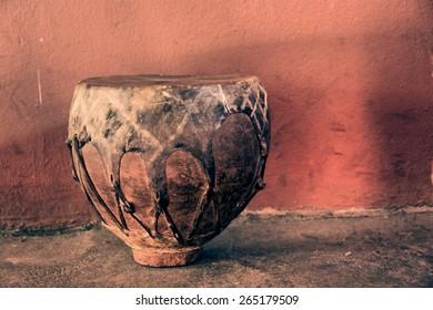 Traditional African drum - vintage. Shot in Lesotho.