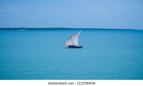Traditional African fishing boat on the Indian Ocean at Dar es Salaam, Tanzania