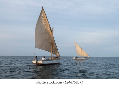 traditional african fishing sail boats at sea