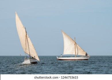 traditional african fishing sail boats offshore