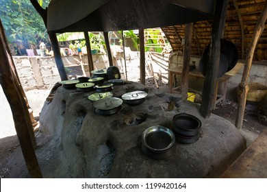 Traditional African food cooked inside Tanzanian clay pots on clay stove at Mto wa Mbu, village, Arusha, Tanzania, East Africa
