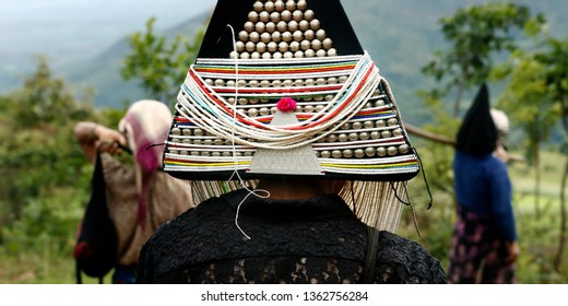 traditional akha hat from ethnic tribe -myanmar