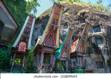 Traditional Alang rice barn, Rantepao, Tana Toraja, South Sulawesi, Indonesia . Alang houses have a distinguishing boat-shaped.