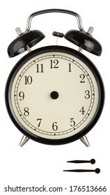 Traditional alarm clock with black face and separate hands to show anytime isolated on white.