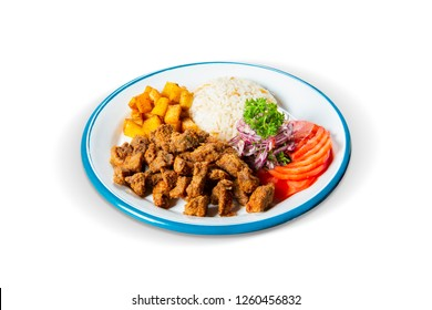 Traditional Albanian Style Fried Diced Liver, Rice, Potato, Onion and Tomato, White Background, with clipping path included (TR: Geleneksel Arnavut Cigeri, Pilav, Patates, Soğan ve Domates)
