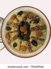 traditional Algerian couscous with dried fruits for Berber New Year's Day.