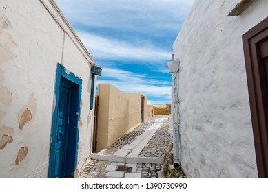 Traditional alley in ano Syros at Syros island, Cyclades, Greece
