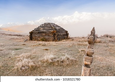 "Traditional Altai Building called ""Ail"" abandoned in Mountains with Fog"