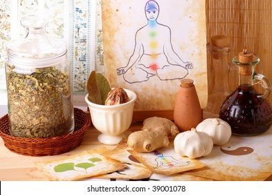 Traditional alternative therapy or medicine, also concept of healthy lifestyle, silhouette of man with chakras in the background.