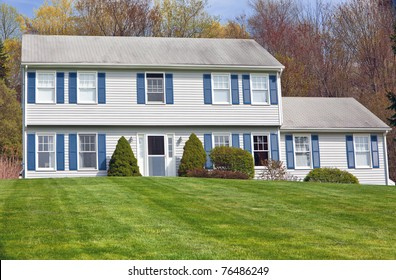 Traditional American detached colonial style house