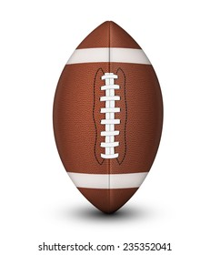 Traditional American football ball, with laces and white stripes isolated on a white background with clipping path and shadow.