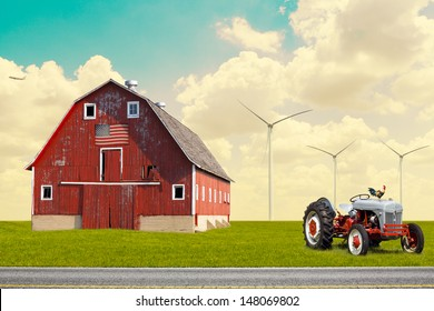 The traditional American red barn in rural setting