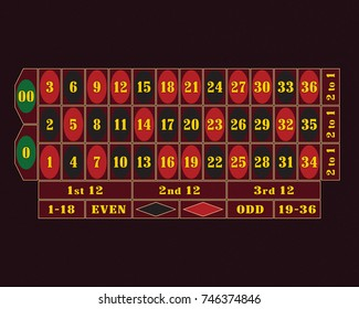 Traditional American Roulette Table raster illustration