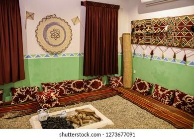 Traditional and ancient Arab mud house interior in Saudi Arabia.
