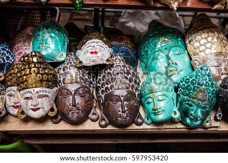 Traditional Ancient Mask Souvenirs Handicrafts Bali Stock Photo