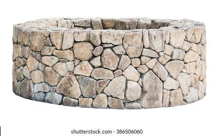 Traditional Ancient stone well isolated on white background. Object with clipping path