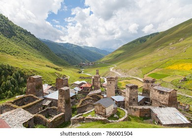 Traditional ancient Svan Towers and machub house in Ushguli village, Upper Svaneti, Georgia.  Ushguli - the highest village in Europe. Selective focus.