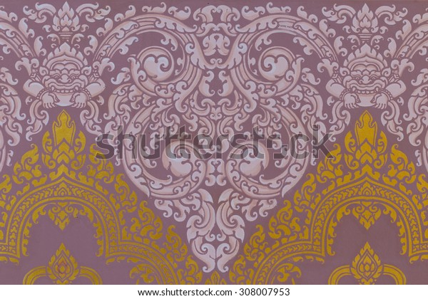 Traditional Ancient Thai style Gold painting art Pattern,public area, no need of property release.