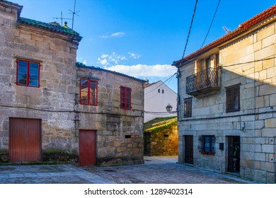 Traditional and anciet houses on San Benito street in Cambados city