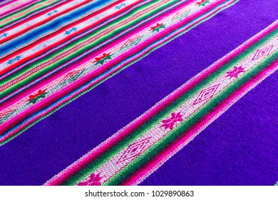 Traditional andean tapestry from northern Argentina and Bolivia. The photo works as a background. Andean culture, of the Quechua and Aymara peoples.