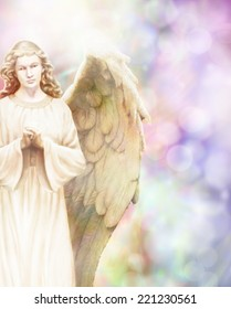 Traditional angel illustration on pastel bokeh background with copy space on right hand side
