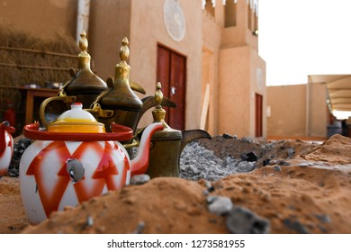 Traditional and an antique Arabic coffee pot (Dallah) and teapot