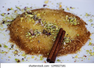 Traditional Arab dessert, Sweets with Pistachio (Kunafa or Kanafeh)