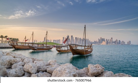 Traditional arabian dhows in Doha , Qatar, Middle East.