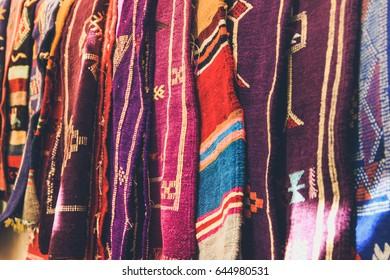 Traditional Arabian Sadu Carpets in a street market