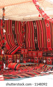 Traditional Arabian tent, furnished in the typical style.