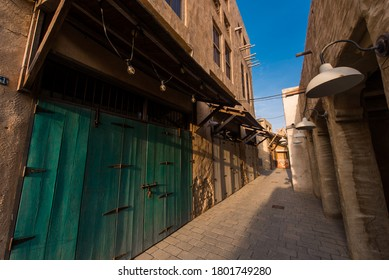 Traditional Arabic architecture. Old Arabic streets. Oriental houses.