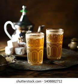 Traditional Arabic black mint tea