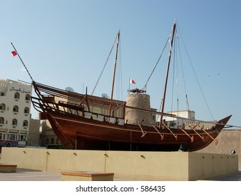A traditional arabic boat (dhow) in display outside dubai museum