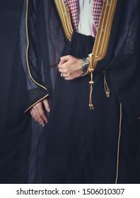 Traditional arabic clothing in wedding