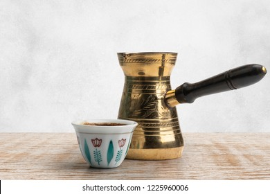 Traditional Arabic Coffee Mug and Coffee Cup, Turkish Coffee isolated on white, Clipping path Included