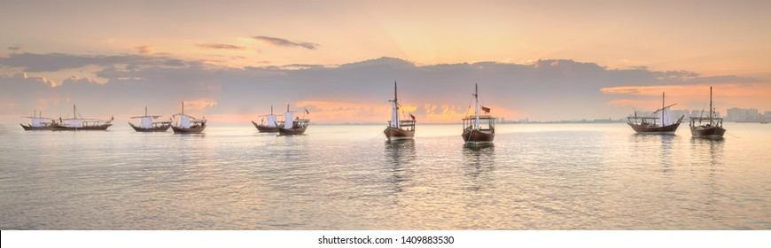 Traditional Arabic Dhow boats in Doha harbour, Qatar.