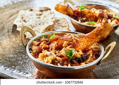 Traditional Arabic food bowls kabsa in close up