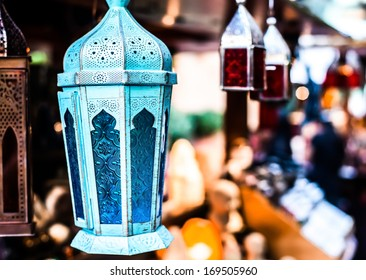 Traditional arabic lamp at souvenir shop in Dubai, UAE