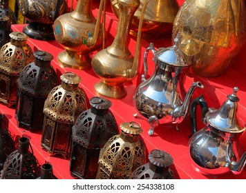 Traditional Arabic metal lights and kettles on the market